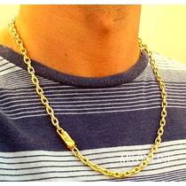 Cordão Masculino 6mm 85cm Banhado A Ouro 18k Fecho Gaveta