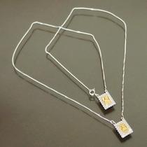 Escapulário 60cm Prata 925 Com Banho Ouro Zircônias Feminino