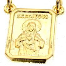Escapulário Jesus E Nossa Senhora Banhada Folheado Ouro 18k