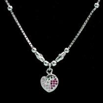 Colar Prata 925 Corrente + Pingente Coração + Zircônias Rosa