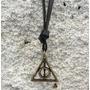 Colar Relíquias Da Morte Harry Potter Em Couro E Ouro Velho