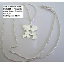 Prata 925 - Corrente 40cm + Pingente Casal