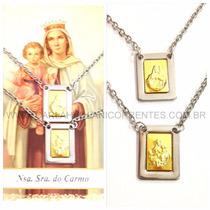 Escapulário Inox E Ouro - Nossa Senhora Do Carmo E Jesus