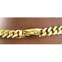 Kit Cordão 60cm +pulseira Elos Soldados+placa Banhados Ouro