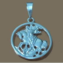Pingente Sao Jorge Medalha Média De Prata 950k