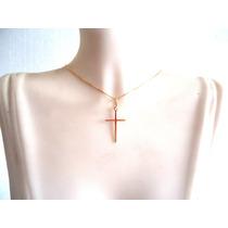 Cordão Pingente Crucifixo Feminino Joia Ouro 18k Certificado