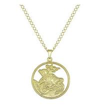 Corrente Folheada A Ouro Com Medalha De São Jorge 66 Cm.