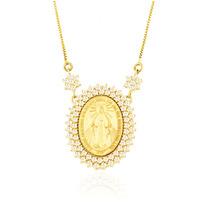 Gargantilha De Ouro 18k Medalha Milagrosa De Nossa Senhora
