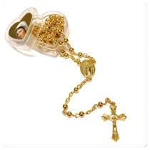 Terço Sagrado Coração Maria Kit 12 Unidades Dourado E Prata