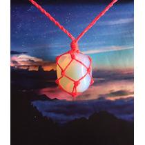 Colar De Pedra Da Lua Hippie (opalina) Com Fio Fluor