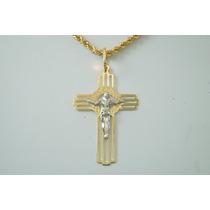 Swjoias Cordão Baiano Masculino Cristo Crucifixo Ouro 18k