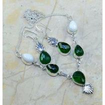 Colar E Brinco Obsidianas Verdes Cor Esmeralda E Jaspe.