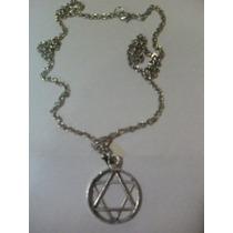 Medalha Estrela De David Corrente Niquelada * Frete R$ 6,00