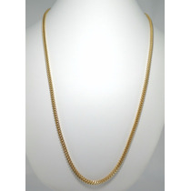 Corrente Grumet V Duplo 60 Cm Masculina Em Ouro 18k 750