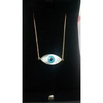 Colar Veneziana Com Olho Grego Tipo Horus Em Ouro 18k