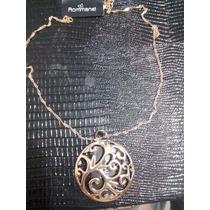 Corrente E Pingente Mandala Med 3,8cm Rommanel Folheado