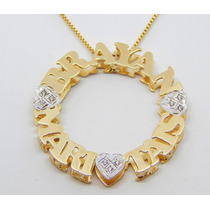 Pingente Mandala Personalizada Folheada A Ouro 18k