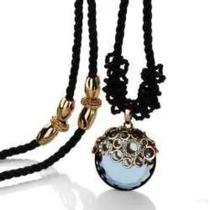 Colar Avalon Lua Negra Folheado A Ouro Rosê Com Zircônia
