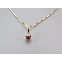 Gargantilha Colar Ponto De Luz Coração Em Ouro 18k-750