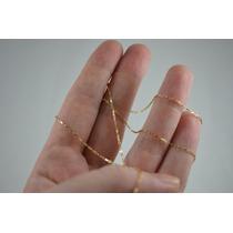 Cordão Feminino Cartier Quadrado Fino 50cm Em Ouro 18k