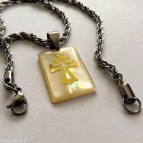 Cruz Crucifixo Corrente E Pingente Aço Imit. Madrepérola
