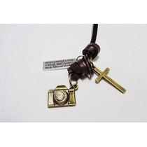 Colar,cordão,couro,câmera Fotográfica Strass,moderno,atual