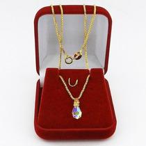 Corrente Feminina 40cm 1mm Gota Cristal Folheado Ouro Cr707