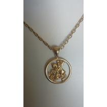 Cordão Modelo Cartier Cadeado E Medalha São Jorge Ouro 18k