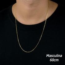 Cordão Corrente Masculina Figaro 3 Em 1 60cm Em Ouro 18k-750