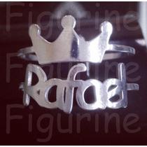 Anel De Nome Personalizado Com Coroa Em Prata 925 !
