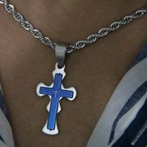 Aço Corrente E Pingente Crucifixo Cruz Oração Pai Nosso Azul