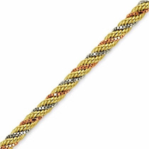 Corrente Ouro Malha Corda Trançada 3 Cores Ouro 40cm Cr018