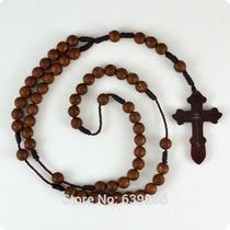 Terço Masculino 41cm 6mm Rosário Cruz Ortodoxa Religiosa