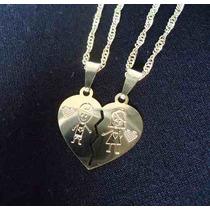 Correntinha Colar Namorados Pingente Coração Folheado 18k