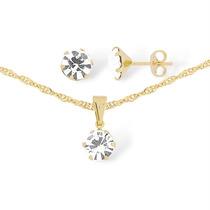 Gargantilha Feminina Em Ouro 18k + Pedra De Cristal Swarovsk