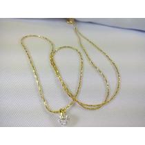 Cordao Folheada A Ouro 18k Cristal Presente Feminino Lindo