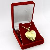 Corrente Feminina 60cm Coração 3cm Folheado Ouro Cr220