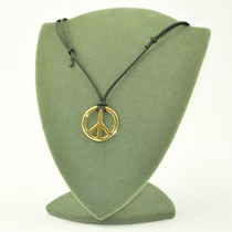 Cordão Com Simbolo Da Paz Folheado A Ouro 18k - Frete Grátis