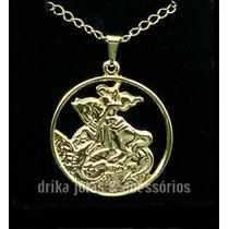 Colar Folheado Ouro 18k Medalha São Jorge Vazado C/ Garantia