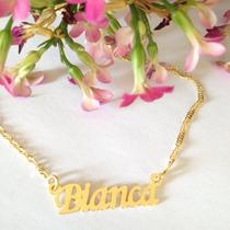 Colar Nome Bianca Folheado A Ouro 18