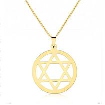 Colar Estrela De Davi Folheado A Ouro Amarelo