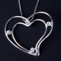 Cordão Coração Com 4 Pedras Zirconia Banhado A Ouro Branco