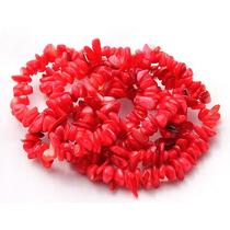 Cascalho Madreperola Vermelha Fio 90cm Teostone Colar 2247