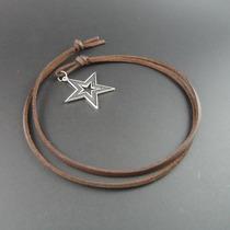 Cordão Em Couro + Pingente Estrela Cor Prata