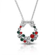 Bling Jewelry Colar Bow Grinalda Do Natal Vermelho Verde 16i