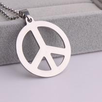 Colar De Aço Cirúrgico 316l Símbolo Da Paz Hippie