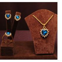 Corrente + Pingente + Brinco Folh. Ouro Com Cristais Azul