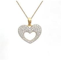 Colar Coração Em Ouro Amarelo 18k/750 E Diamantes!
