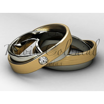 Aliança De Luxo - Infinito - Ouro 18k - Diamante Casamento