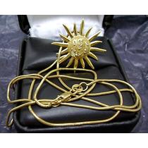 Maravilhoso Colar De Sol Em Ouro 18k Com Diamantes !!